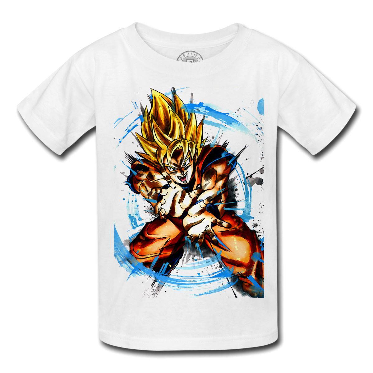 T-shirt enfant dragon ball bradok père  de sangoku saiyan manga dbz