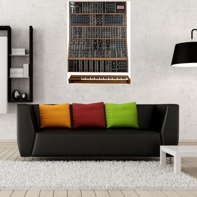 Poster Affiche Vintage Synth Moog Modular Synthetizer Analog Pub