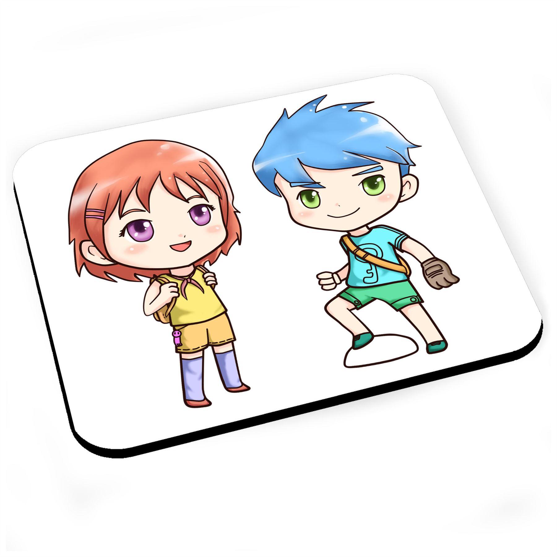 Tapis De Souris Aquarelle Personnage Manga Enfant Mignon Dessin