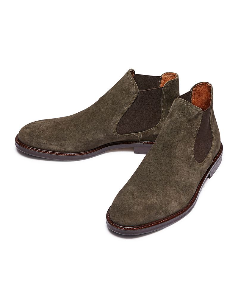 3bb03ab706074 Selected Homme Baxter Chelsea Suede Boots in Olive   eBay
