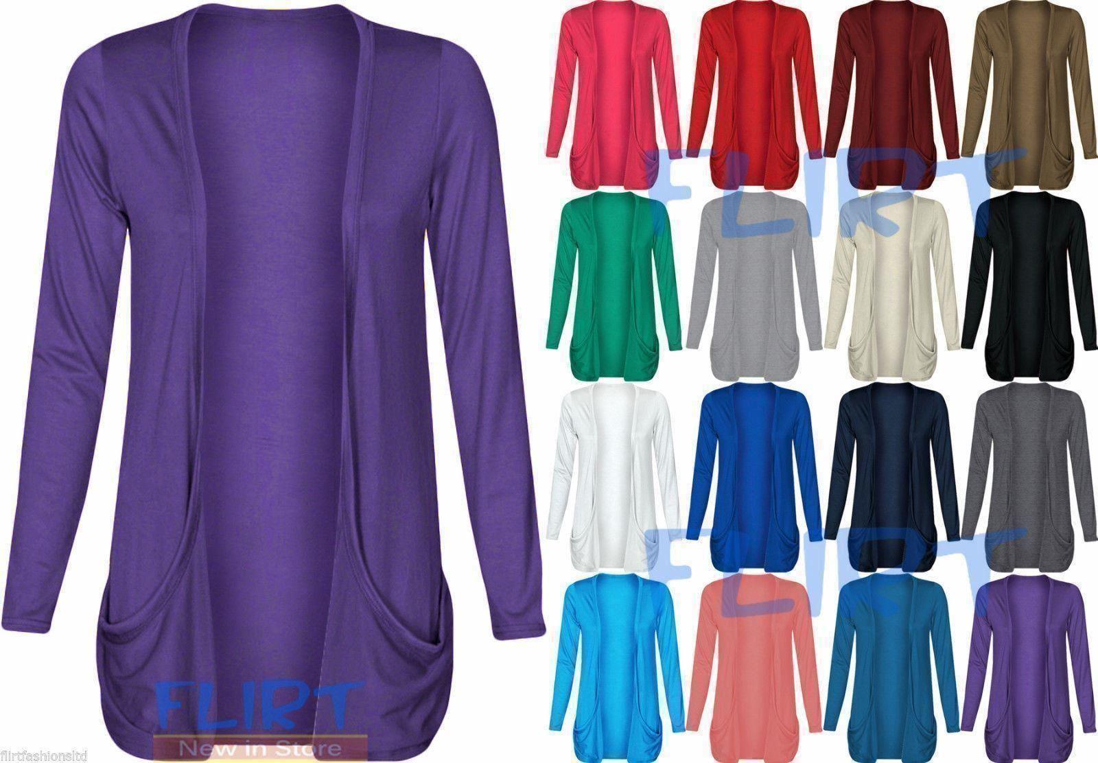 Femme-Plus-Taille-Drop-poche-Boyfriend-Ouvert-Cardigan-Tops-manches-longues-Casual miniature 4