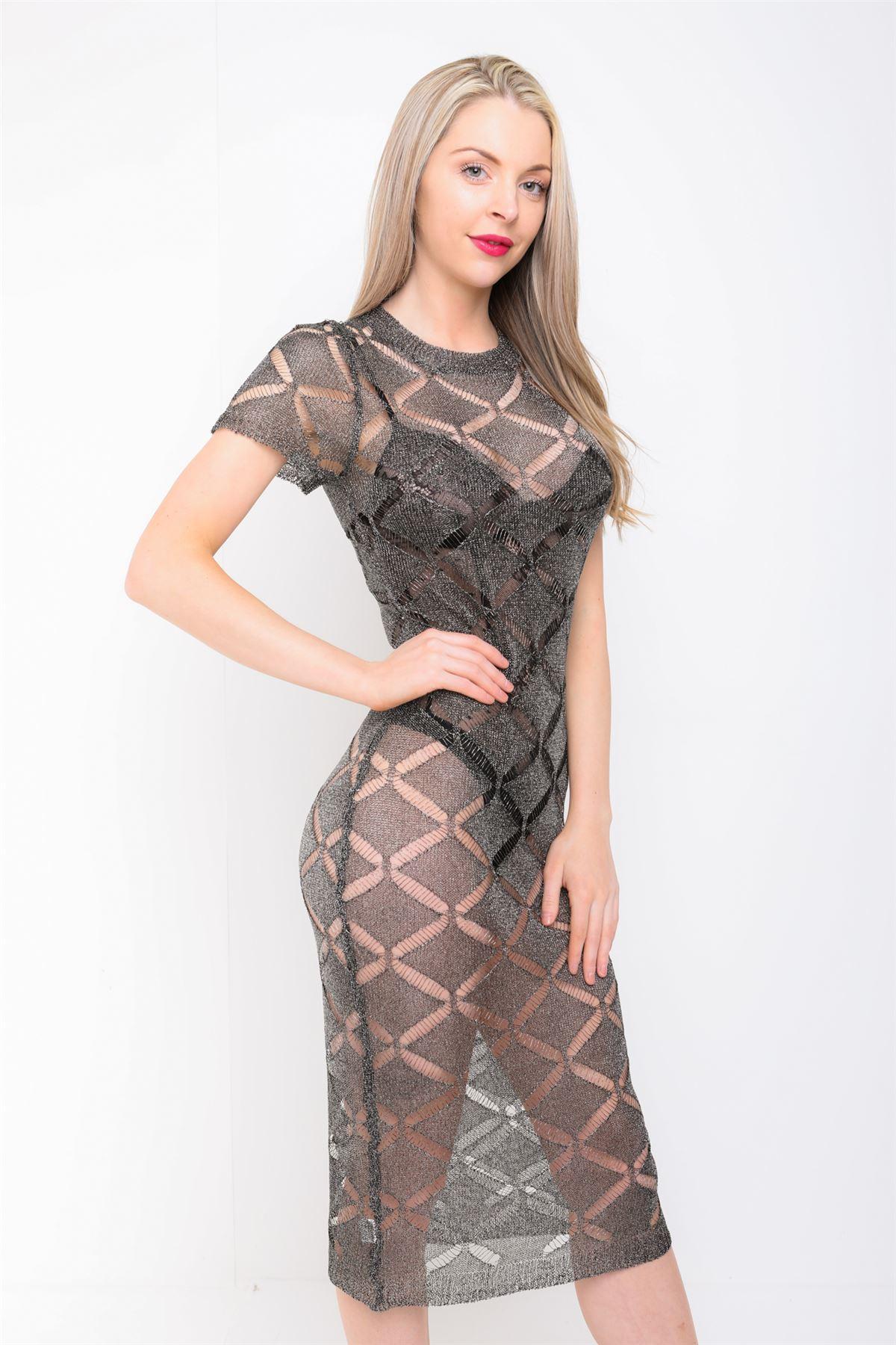 Women Rose Gold Black Distressed Knitted Dress Metallic