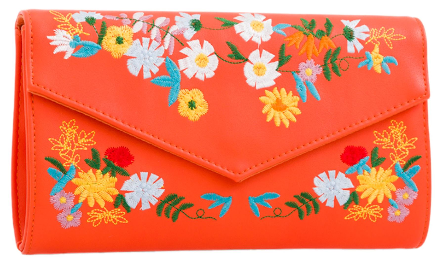 Womens-Faux-Leather-Clutch-Bag-Embroidered-Floral-Summer-Party-Evening