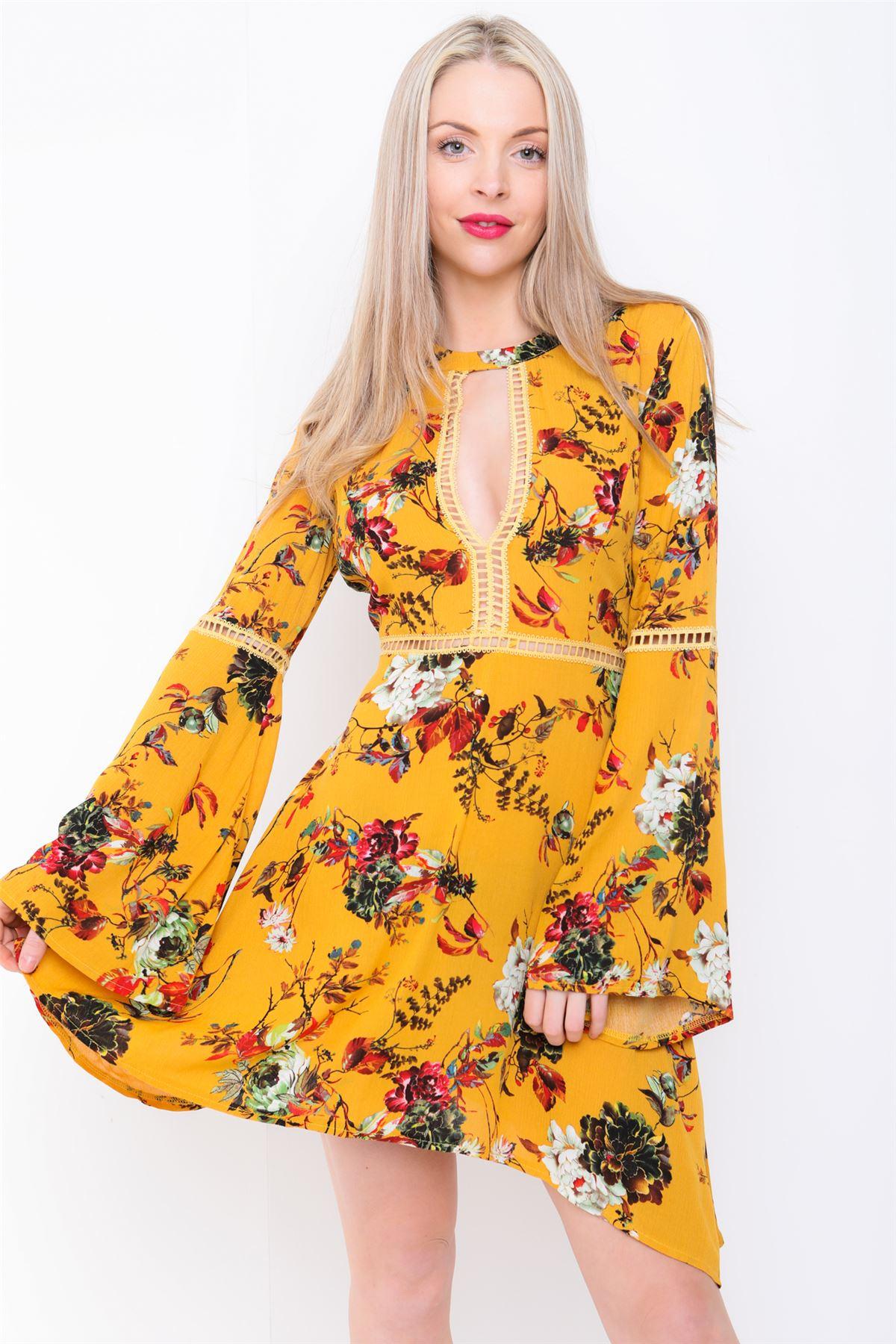 Women yellow dress boho flowers print bell long sleeve mini flute uk women yellow dress boho flowers print bell long mightylinksfo