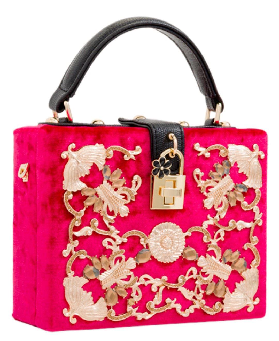 Evening pour Pochette Black Gemstone femme Handle Top Baroque Velvet Compact 8wqHwOB