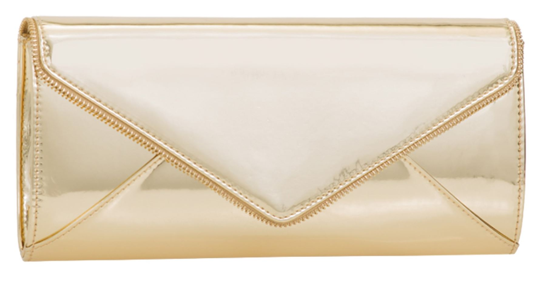 f7754ee7e1f New Rose Gold Oversized Patent Faux Leather Clutch Bag Plain Glossy ...