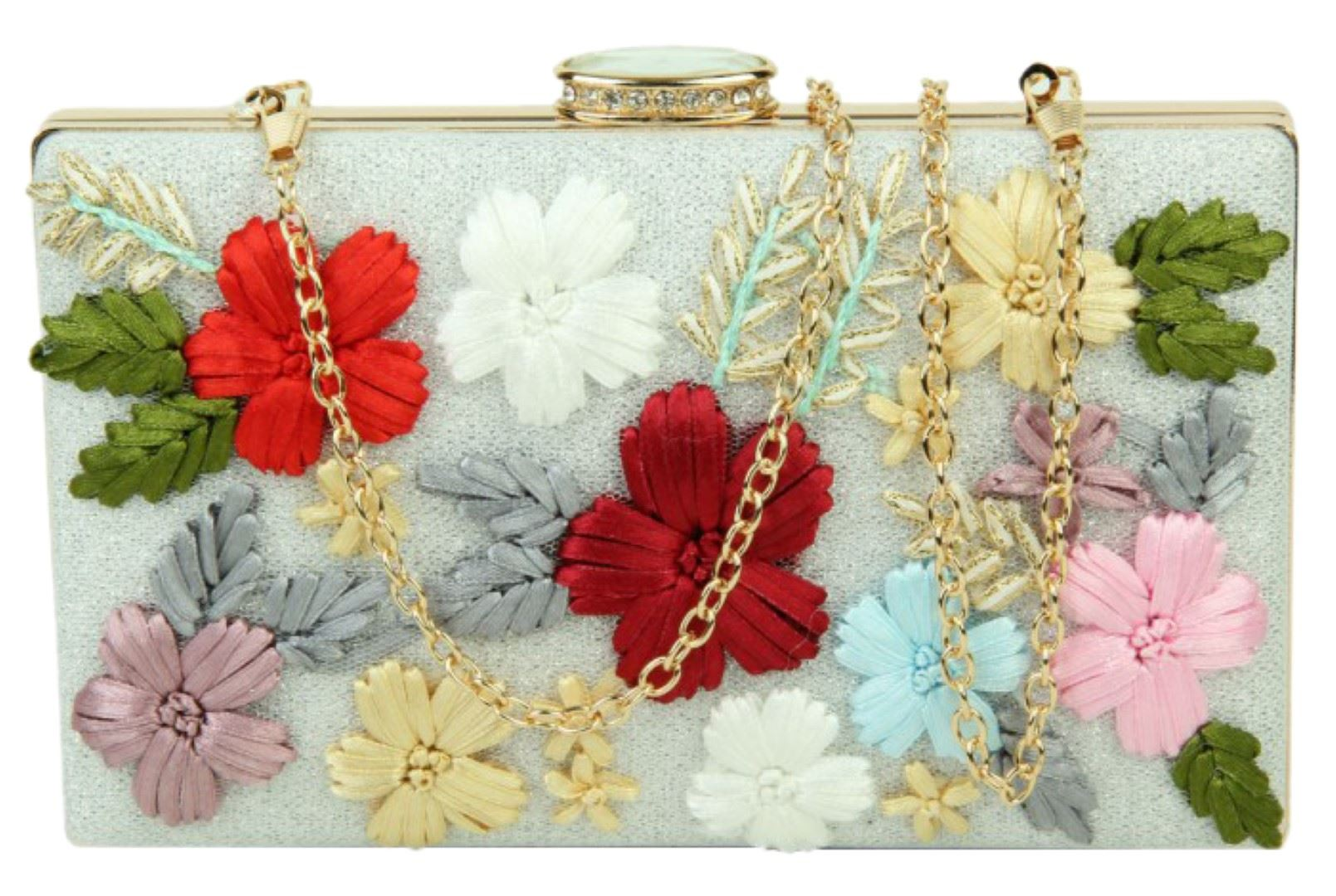 Vintage-Hard-Case-Clutch-Bag-Embroidered-Flowers-Diamante-Evening-Party-Bridal