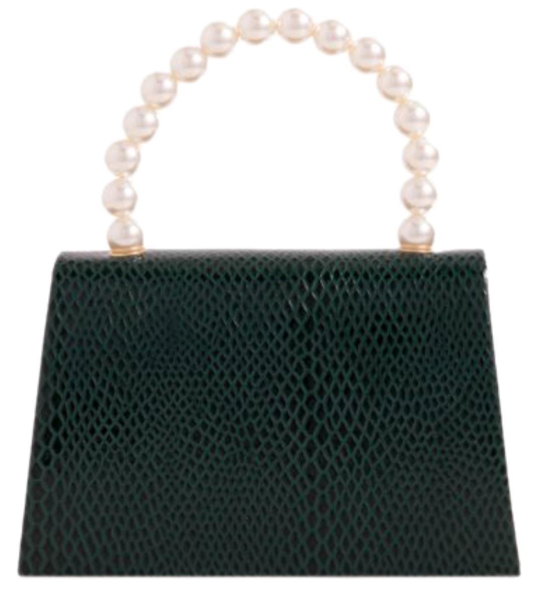 Ladies Croc Clutch Bag Pearl Handle Mini Evening Party