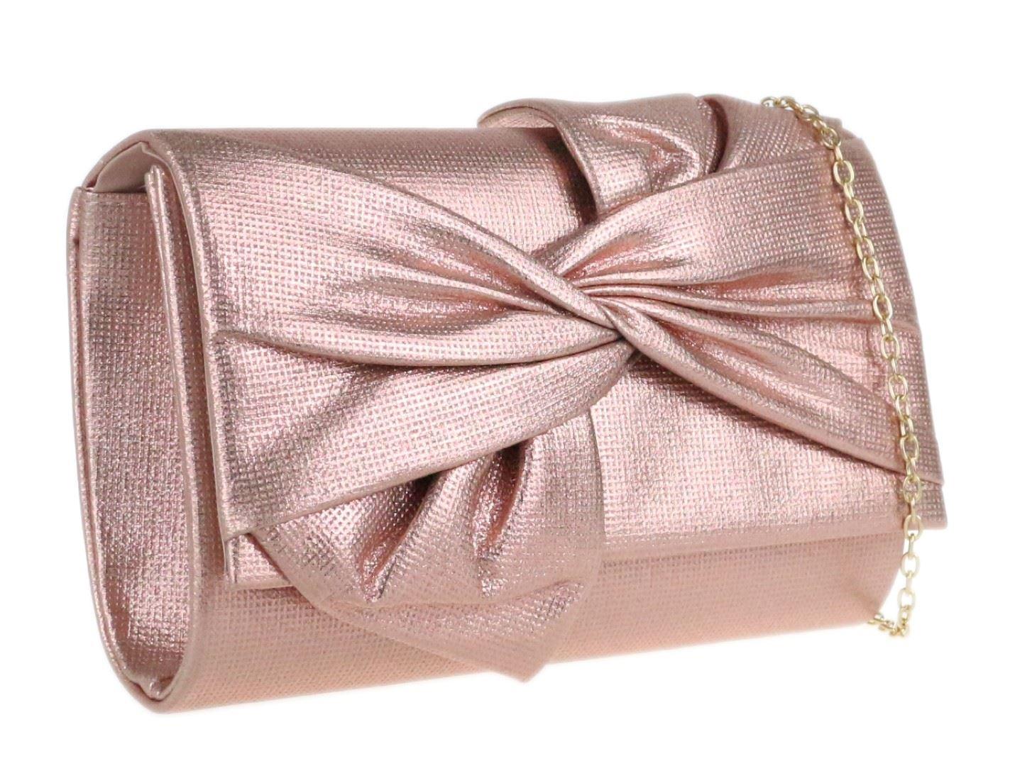Womens Glitter Sequins Clutch Bag Glam Handbag Pink Wedding Party