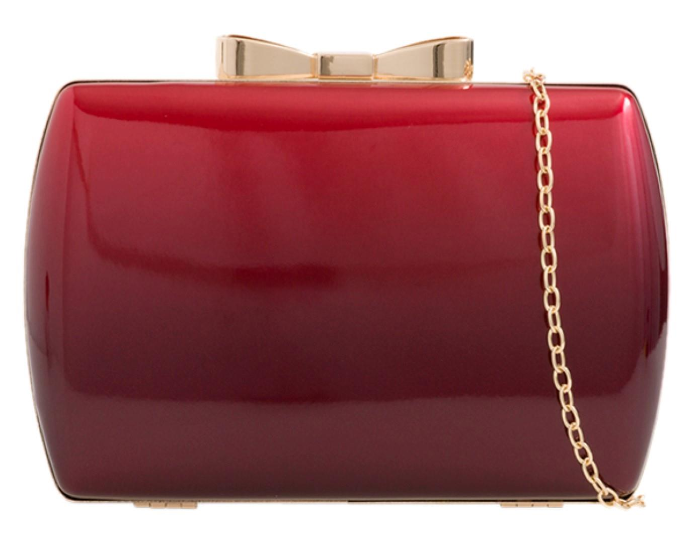 Womens Hard Case Clutch Bag Gradient Two Tone Small Bow Glossy Party Prom Bridal