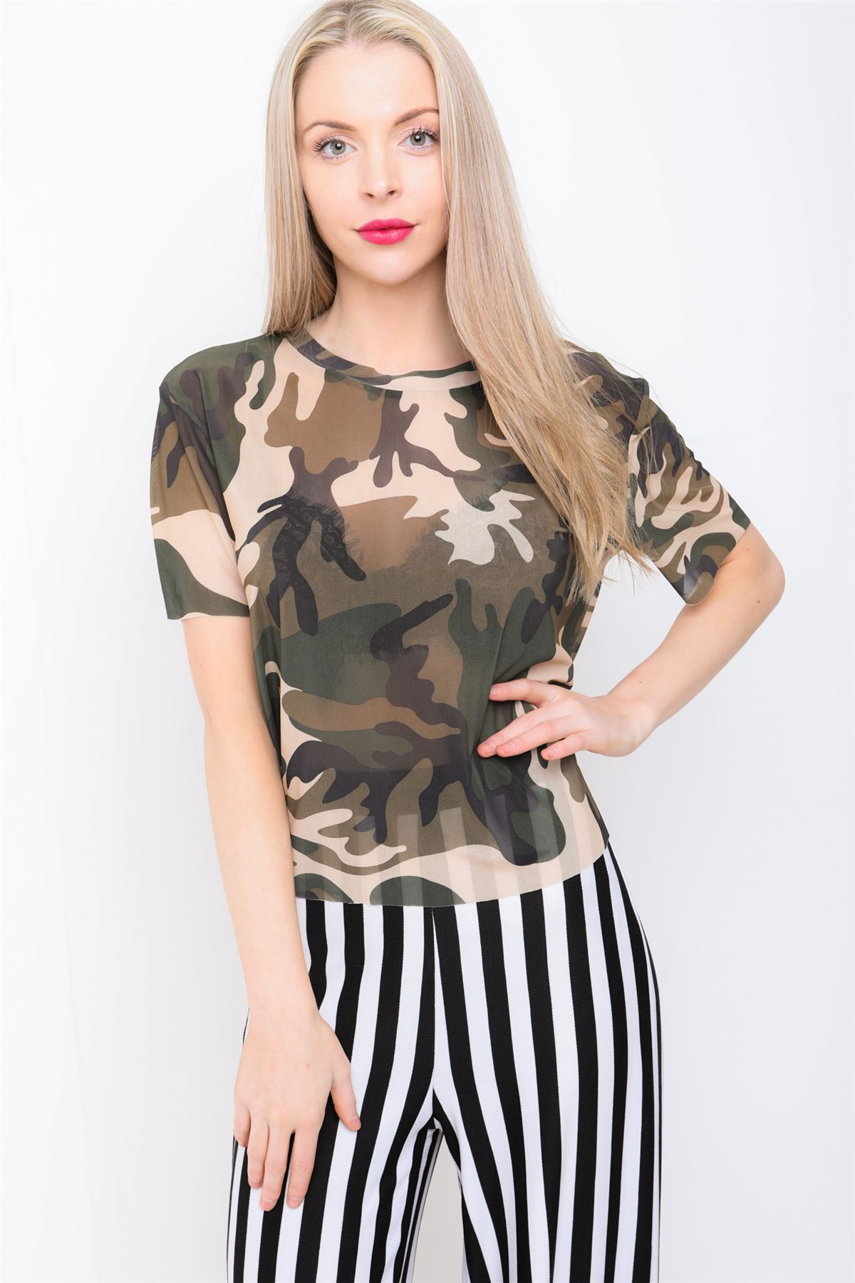 03e454e45758c4 Womens Blouse Tshirt Mesh Army Print Short Sleeve Crop Top Tank UK ...