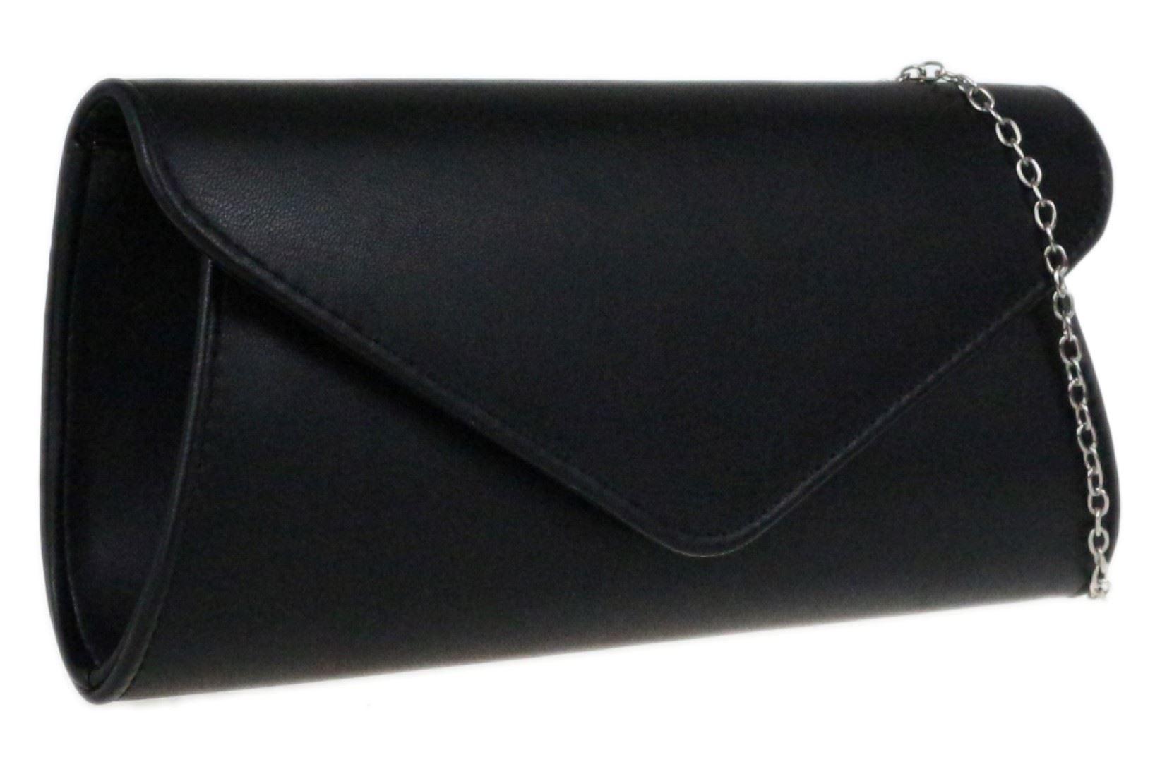 Womens Plain Faux Leather Clutch Bag Oversized Handbag Simple Wedding Evening