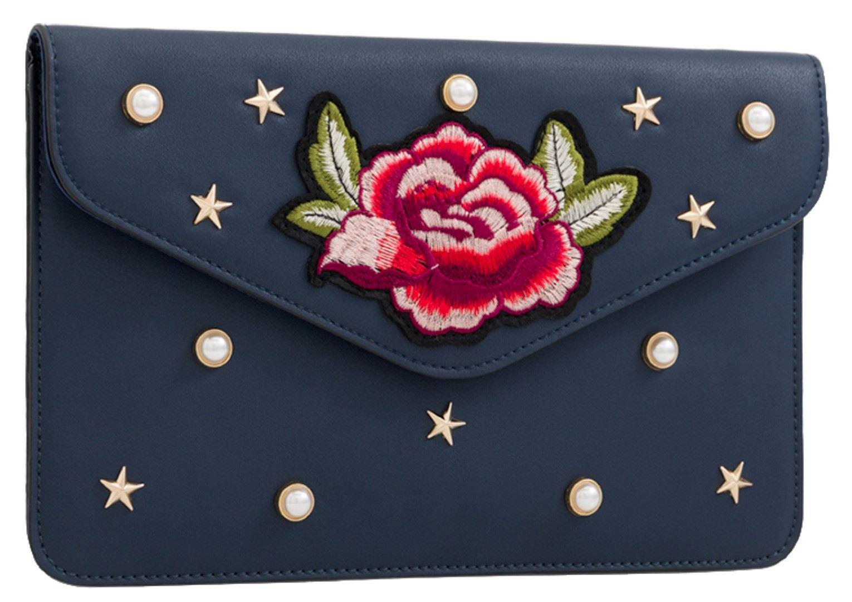 Vintage Ladies Faux Suede Clutch Bag Pearls Flap Pattern Evening Party Wedding