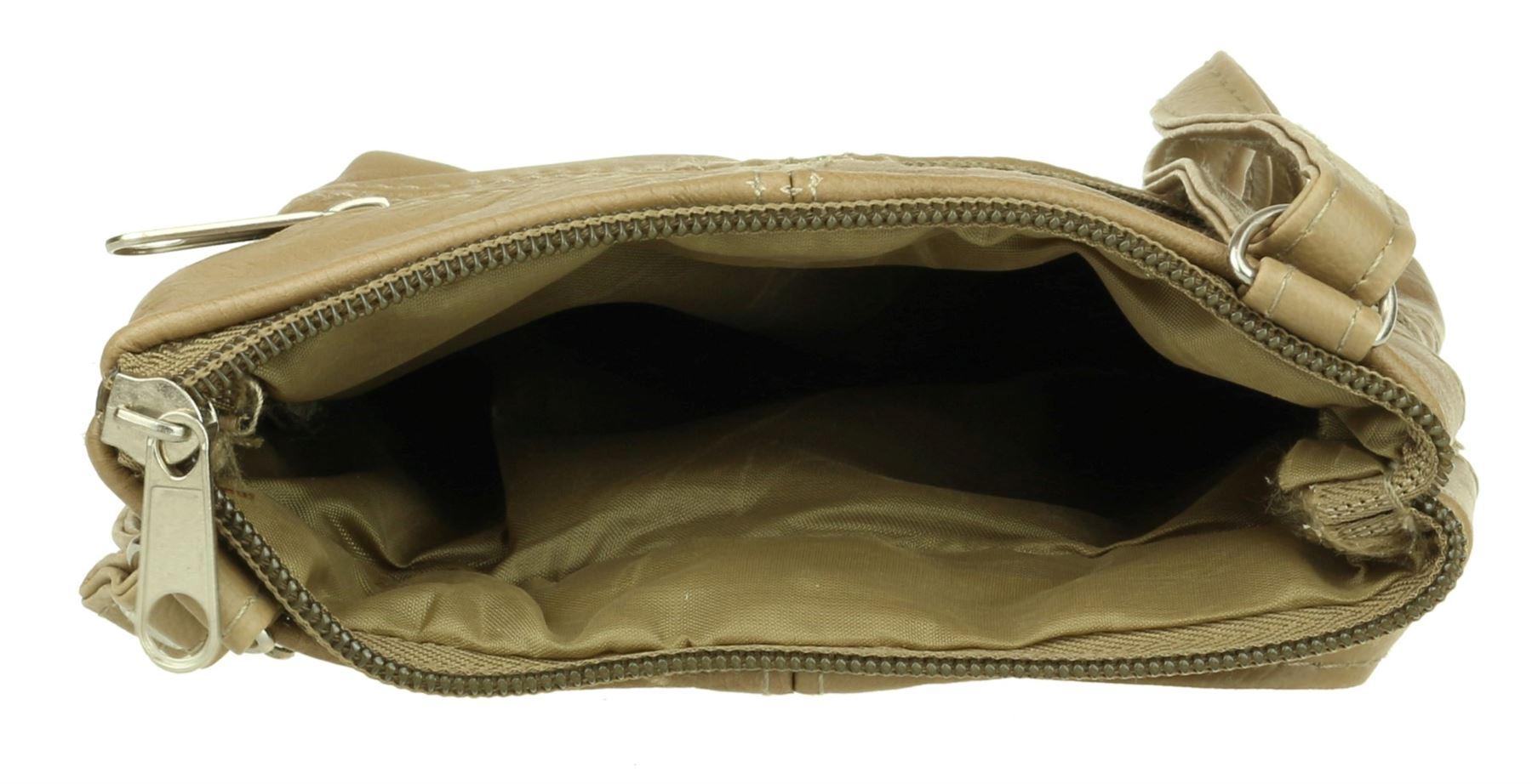 Womens Genuine Leather Shoulder Bag Asymmetric Zip Soft Stitched Crossbody
