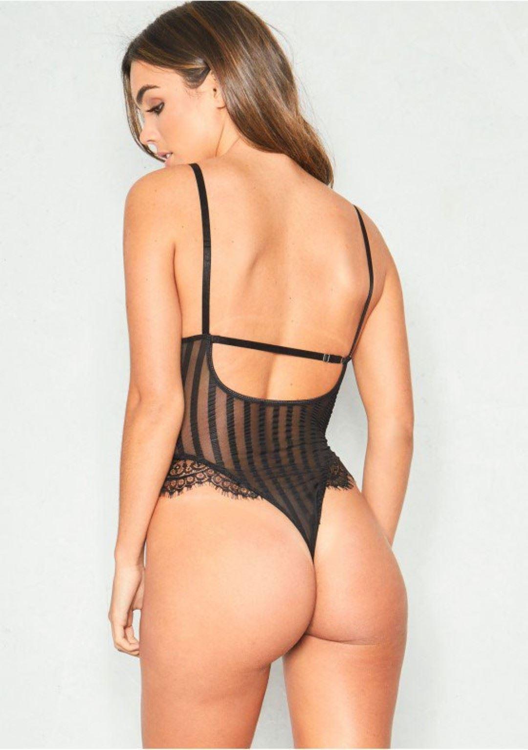 99af020fb2 Ladies Striped Lace Bodysuit Cut Out Sheer Mesh Eyelash Fishnet ...