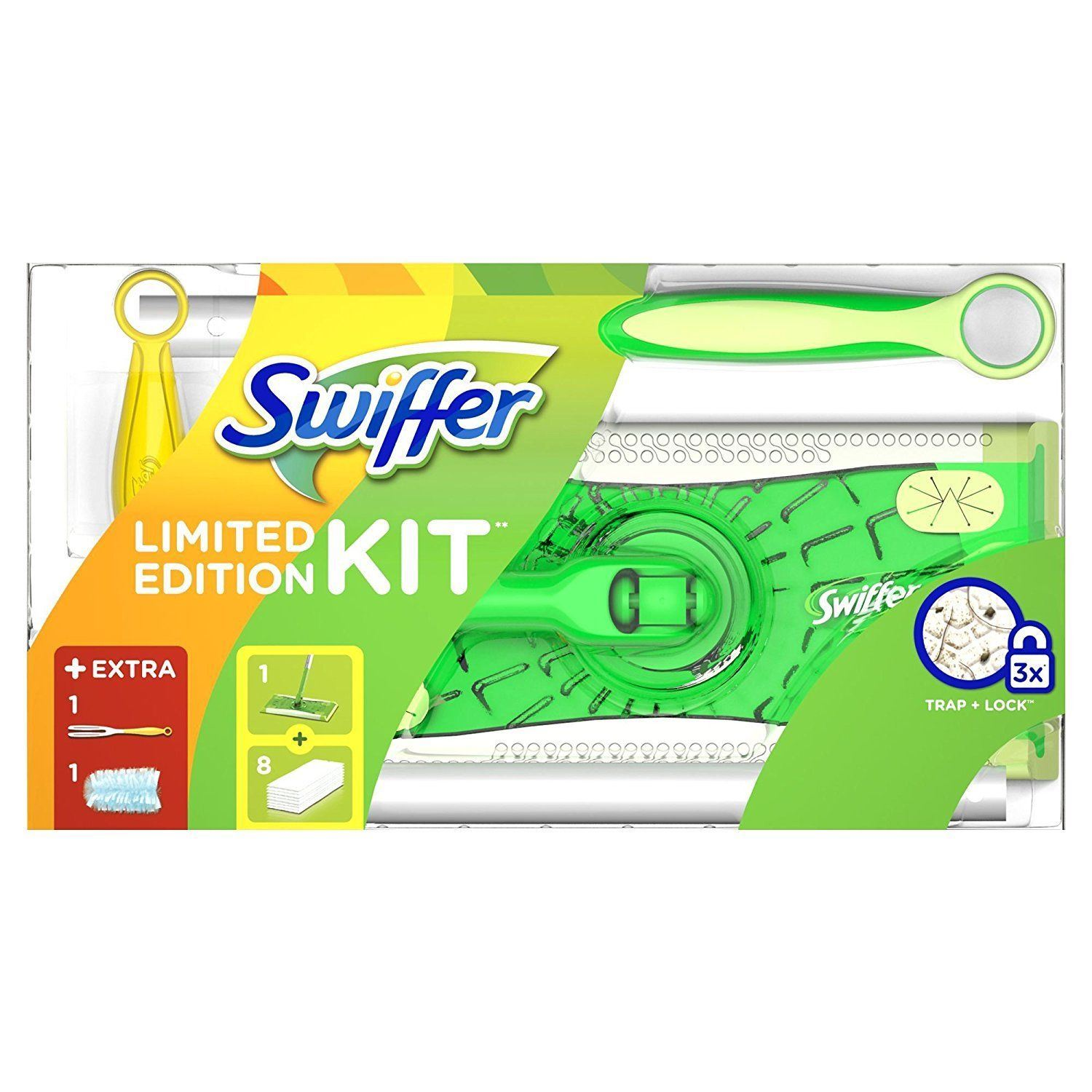 With a one-two cleaning punch, Swiffer Sweeper Floor Sweeper Mop is designed to sweep and mop your floors. Thick dry sweeping cloths conform to the surface of your floors and grout lines, trapping and locking dirt, dust, hair and allergens.