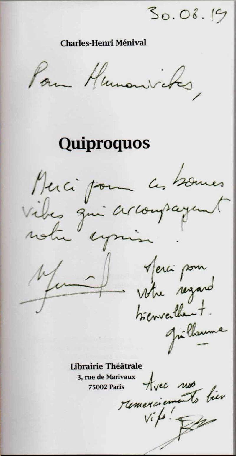Dédicace de Charles-Henri Ménival pour Humanvibes