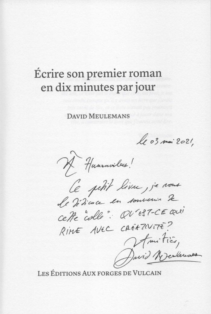 Dédicace de David Meulemans pour Humanvibes