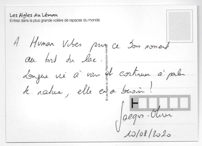 Dédicace de Jacques-Olivier Travers à Humanvibes