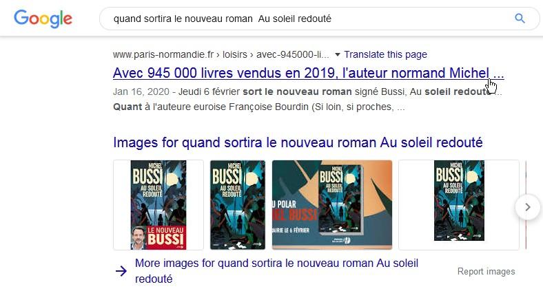 Google / quand sortira le nouveau roman de Michel Bussi ?