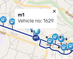 A screenshot showing a bus's exact position on an interactive map