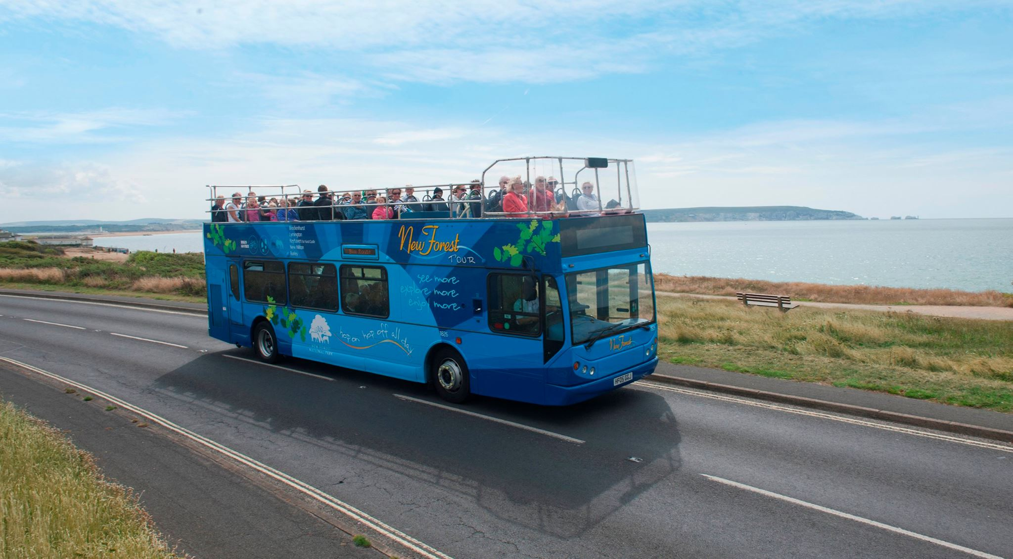 Photo of New Forest Tour open top bus, blue route in service