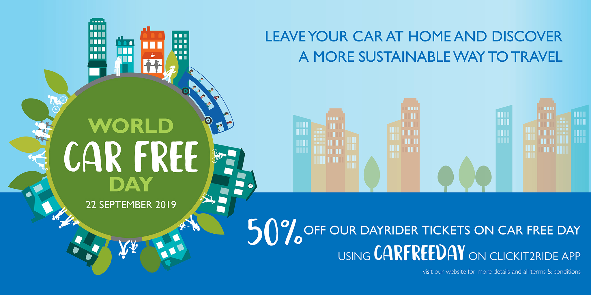 Image reading '50% off dayrider tickets on Car Free Day'