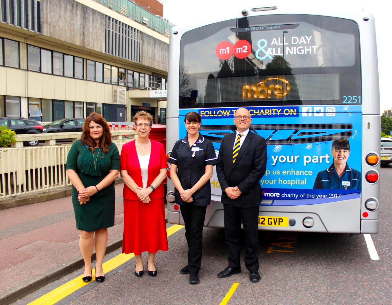 Morebus staff outside Poole Hospital