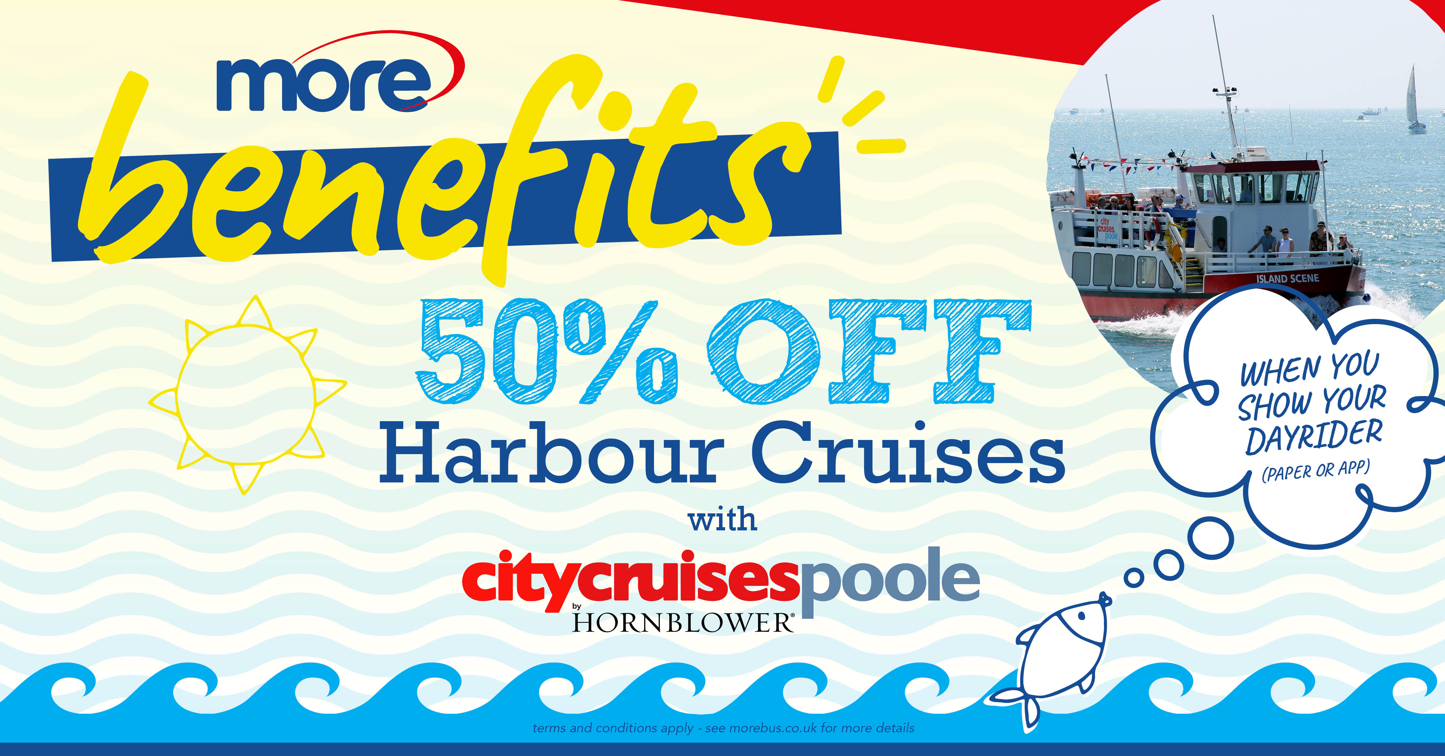 Illustration image stating '50% off with City Cruises Poole'