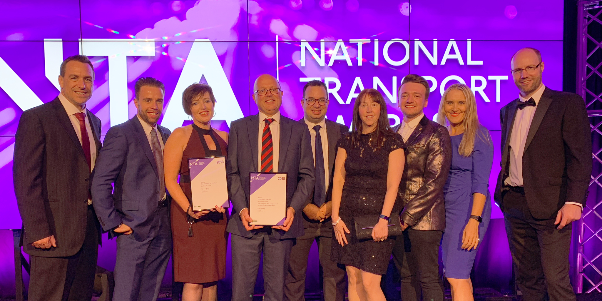 Photo of morebus team collecting an award at the National Transport Awards