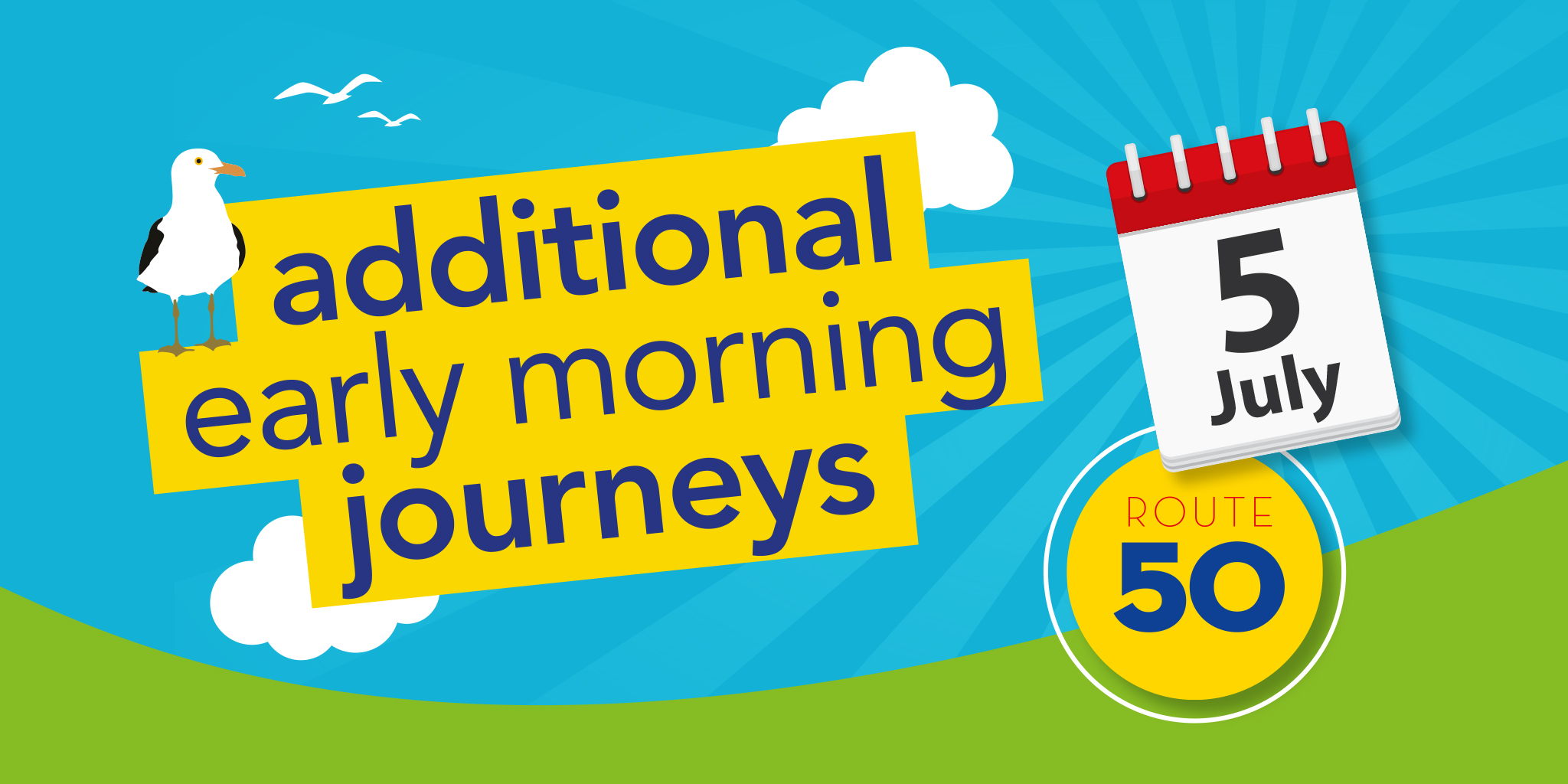 Image reading 'Additional early morning journeys Purbeck Breezer 50 from 5th July'