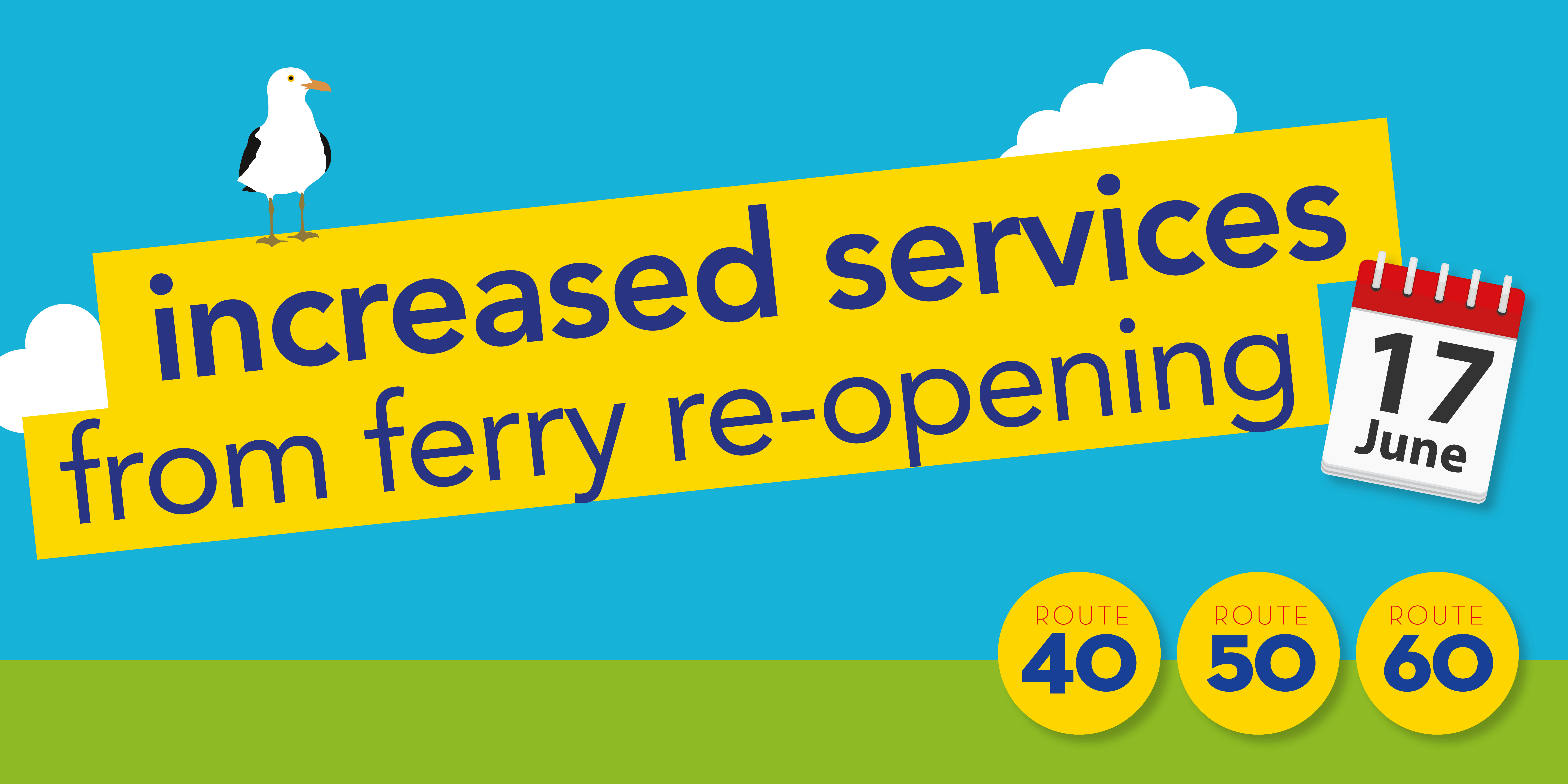 Image reading 'increased services from ferry re-opening Purbeck Breezer 40, 50 and 60 from Wednesday 17th June'