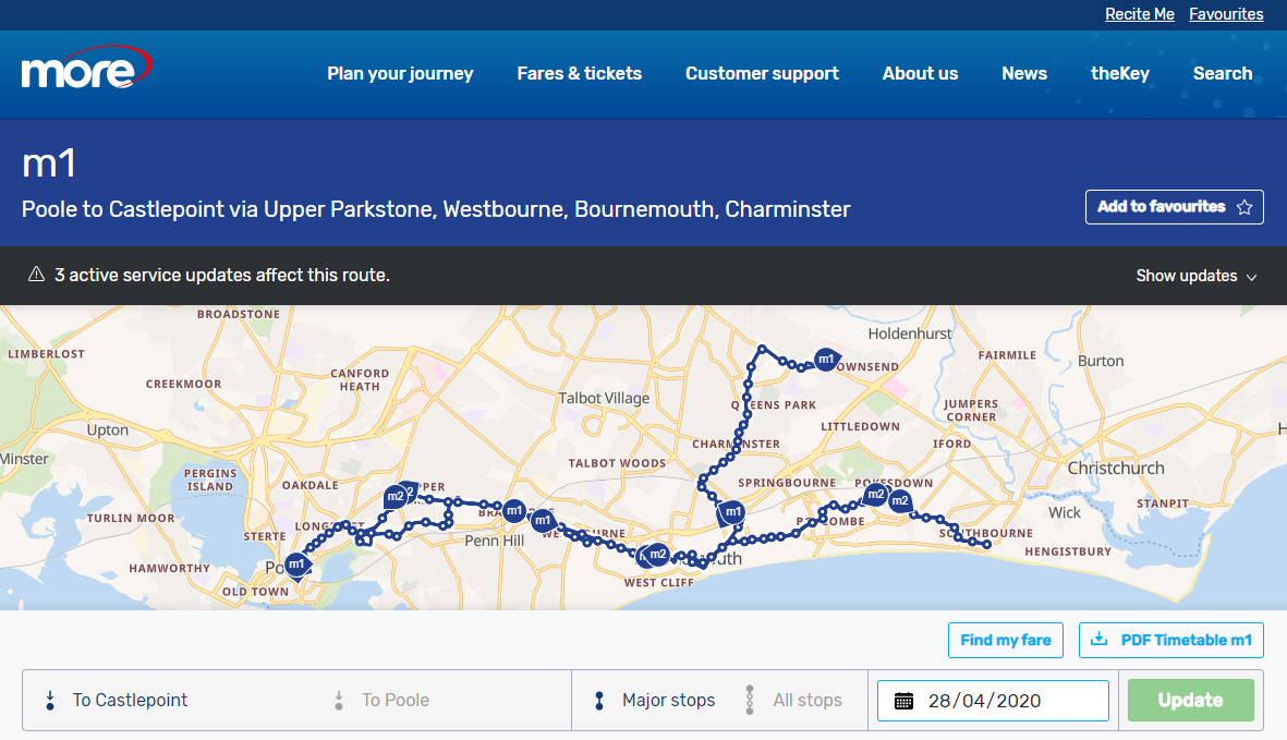 A screenshot showing a bus timetable page which also shows a map depicting the exact location of your buses