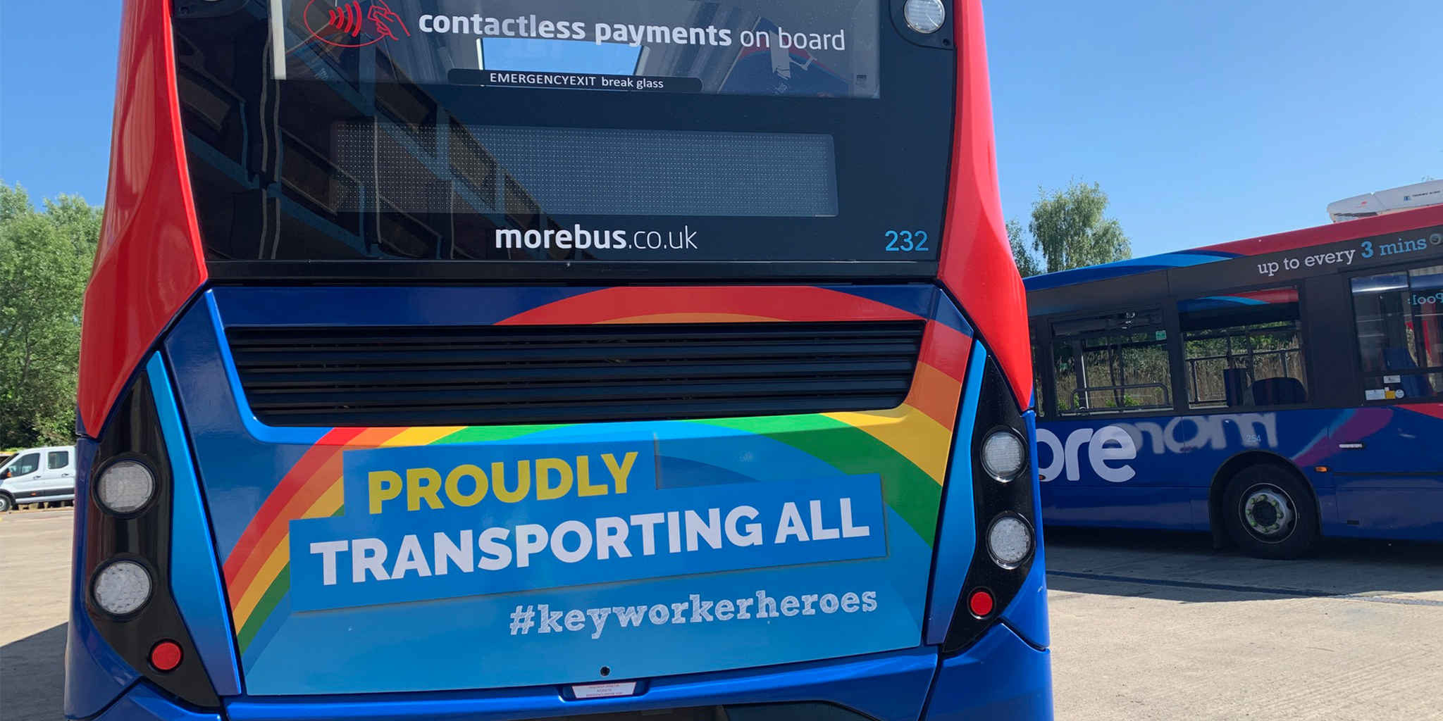 A photo of a morebus with a rear design reading 'proudly transporting all #keyworkerheroes'