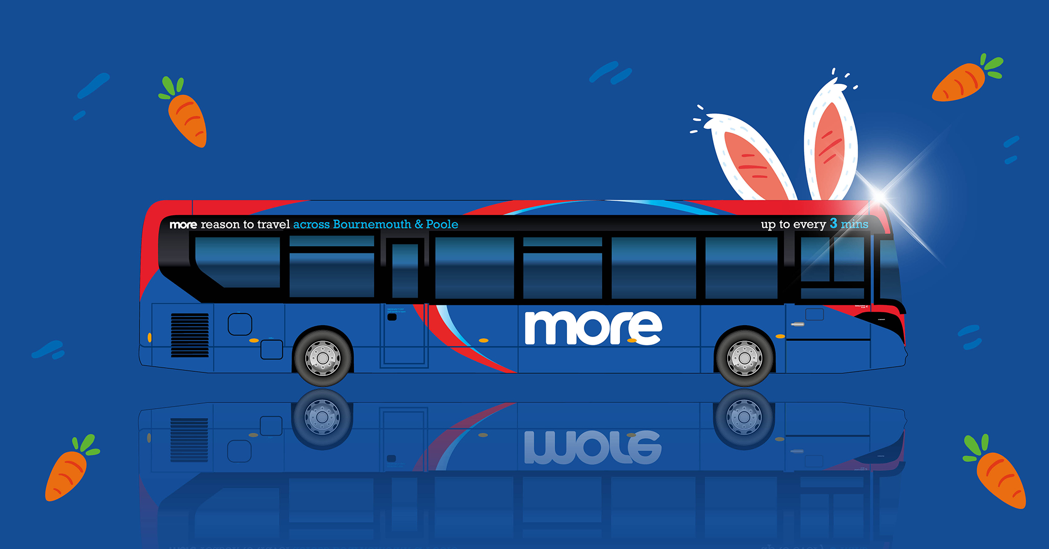 Illustration of a morebus vehicle with cartoon bunny ears