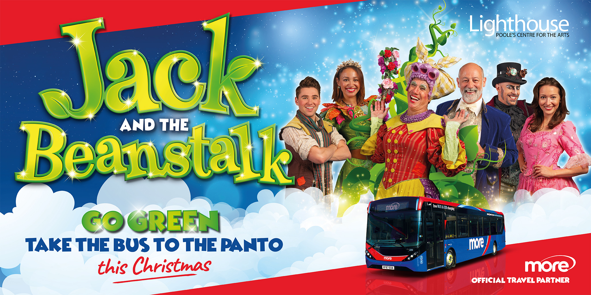 Illustration reading 'Jack and the Beanstalk - go green, take the bus to the panto this Christmas'