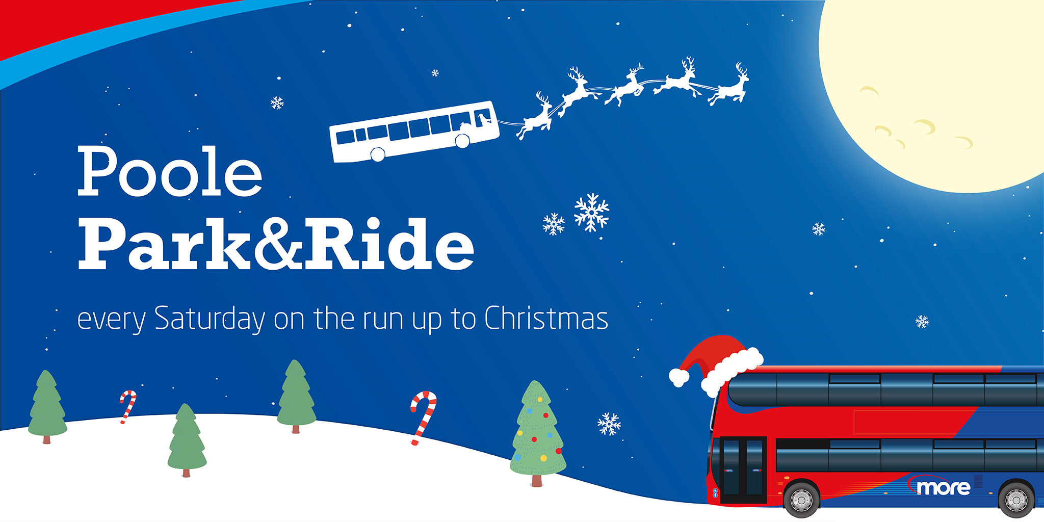 Illustration reading 'Poole Park & Ride - every Saturday on the run to Christmas'