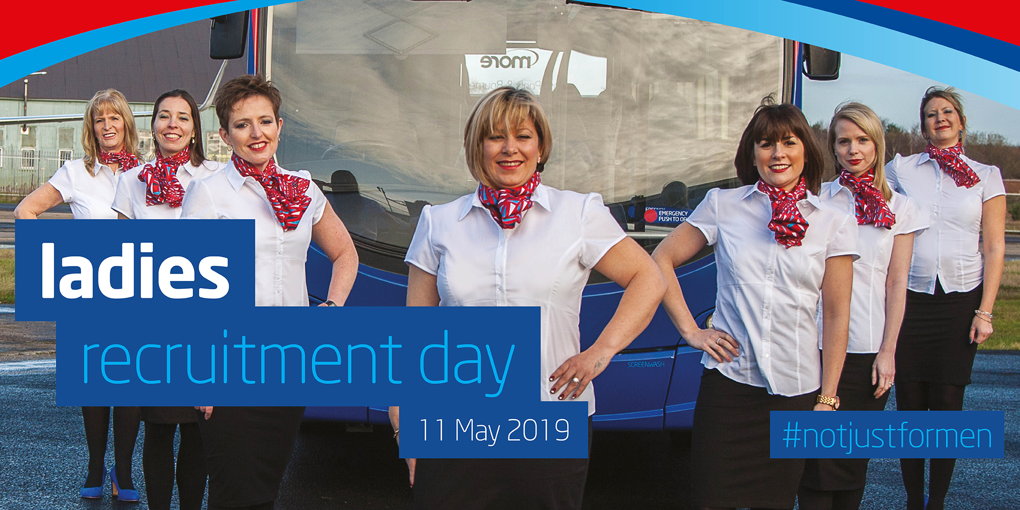 Image with ladies standing in front of a bus with text overlaid saying 'ladies recruitment day'