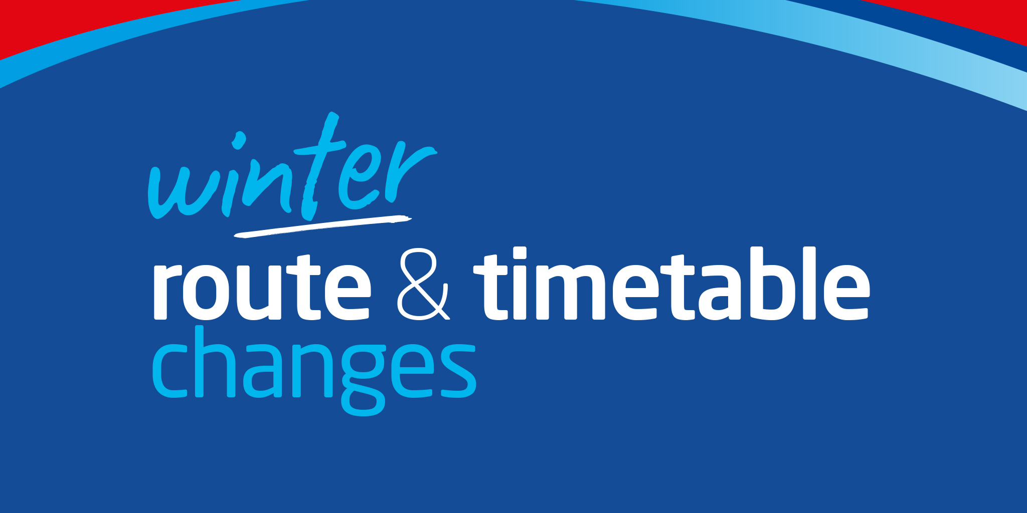 Illustration image that reads 'winter route & timetable changes'