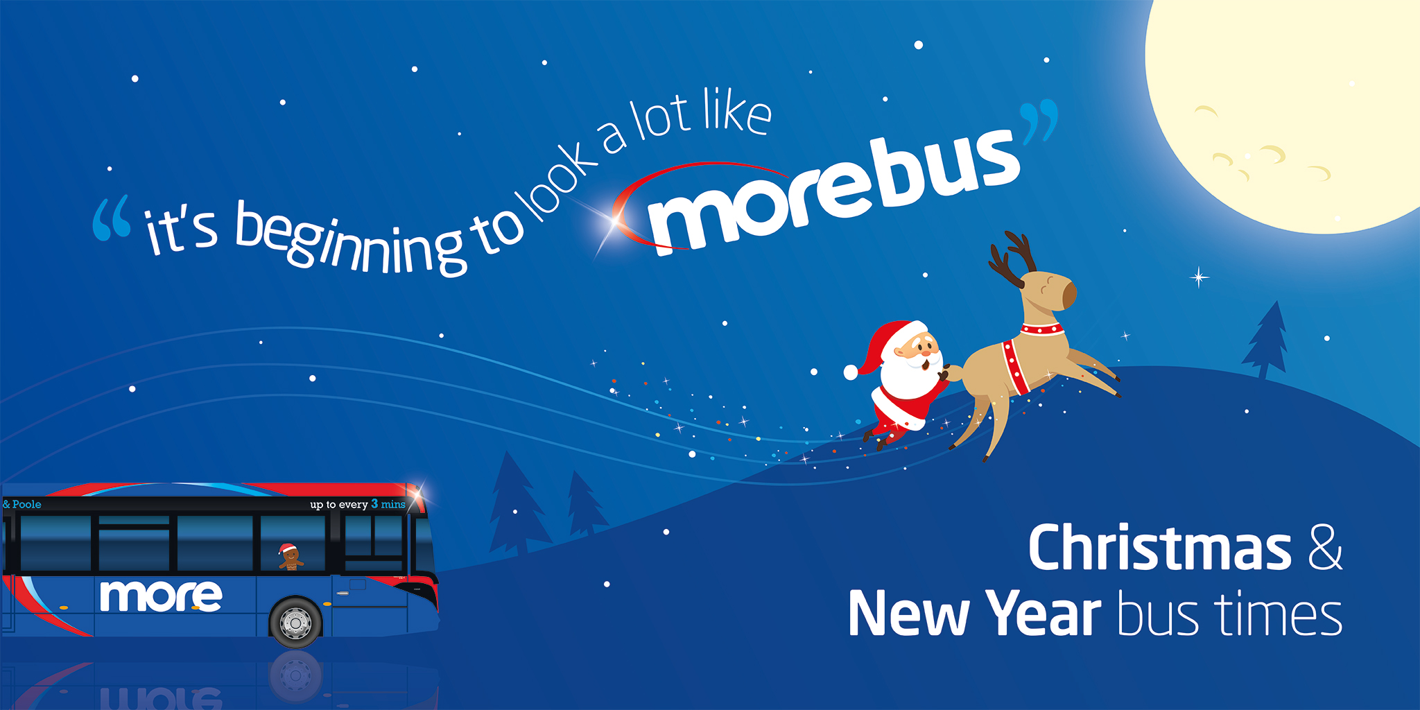 morebus Christmas & New Year bus times illustration