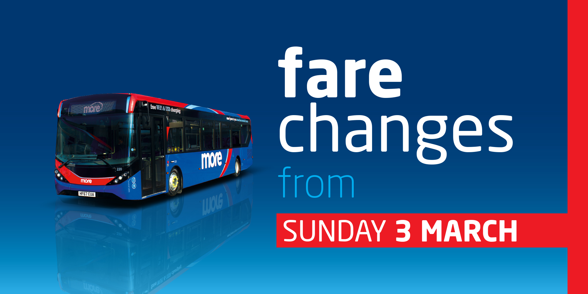 Image symbolising morebus fare changes from Sunday 3rd March
