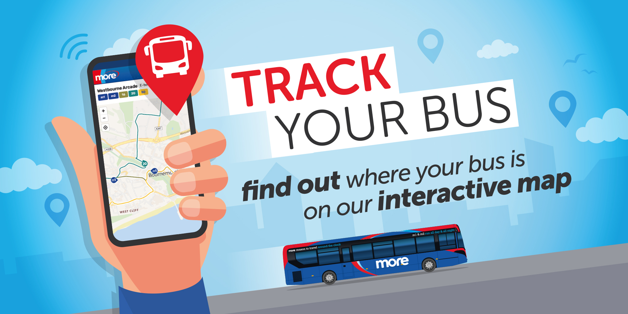 Image reading 'Track your bus. Find out where your bus is on our interactive map'