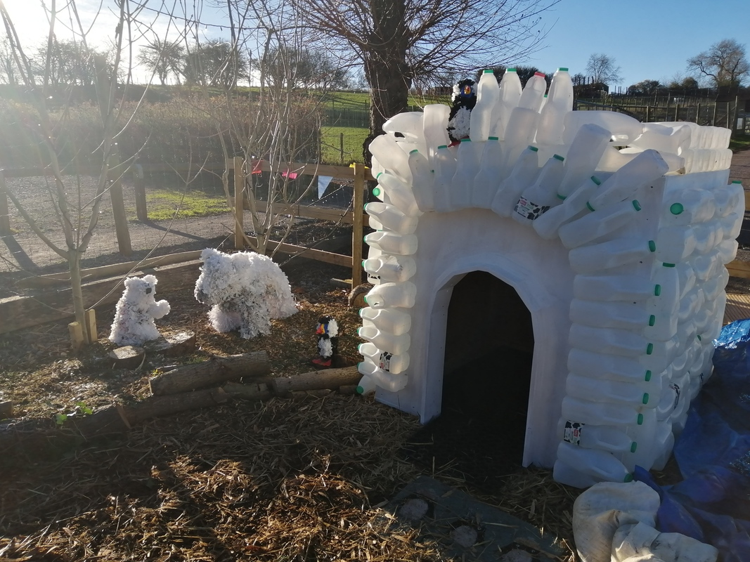 Igloo made of milk bottles and polar bear sculptures