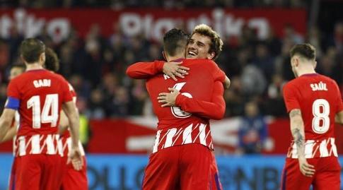 קוקה ואנטואן גריזמן חוגגים (La Liga)
