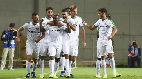שחקני מכבי חיפה חוגגים את השער (נעם מורנו)