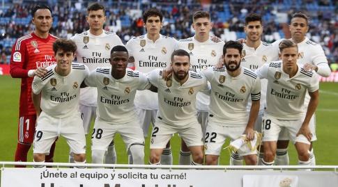שחקני ריאל מדריד לפני שריקת הפתיחה (La Liga)