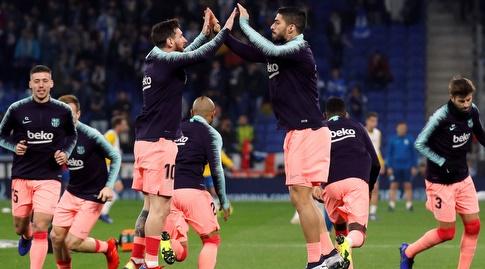 לואיס סוארס וליאו מסי בחימום (La Liga)
