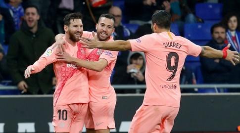 לואיס סוארס, ג'ורדי אלבה וליאו מסי חוגגים (La Liga)