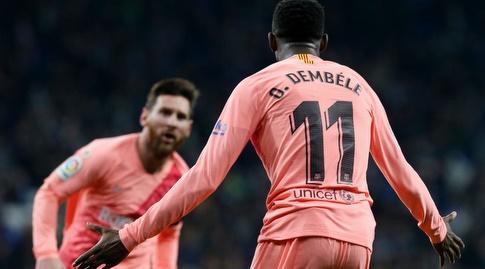 אוסמן דמבלה וליאו מסי חוגגים (La Liga)