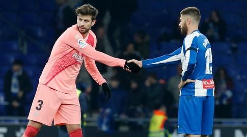 ג'רארד פיקה ודויד לופס לוחצים ידיים (La Liga)